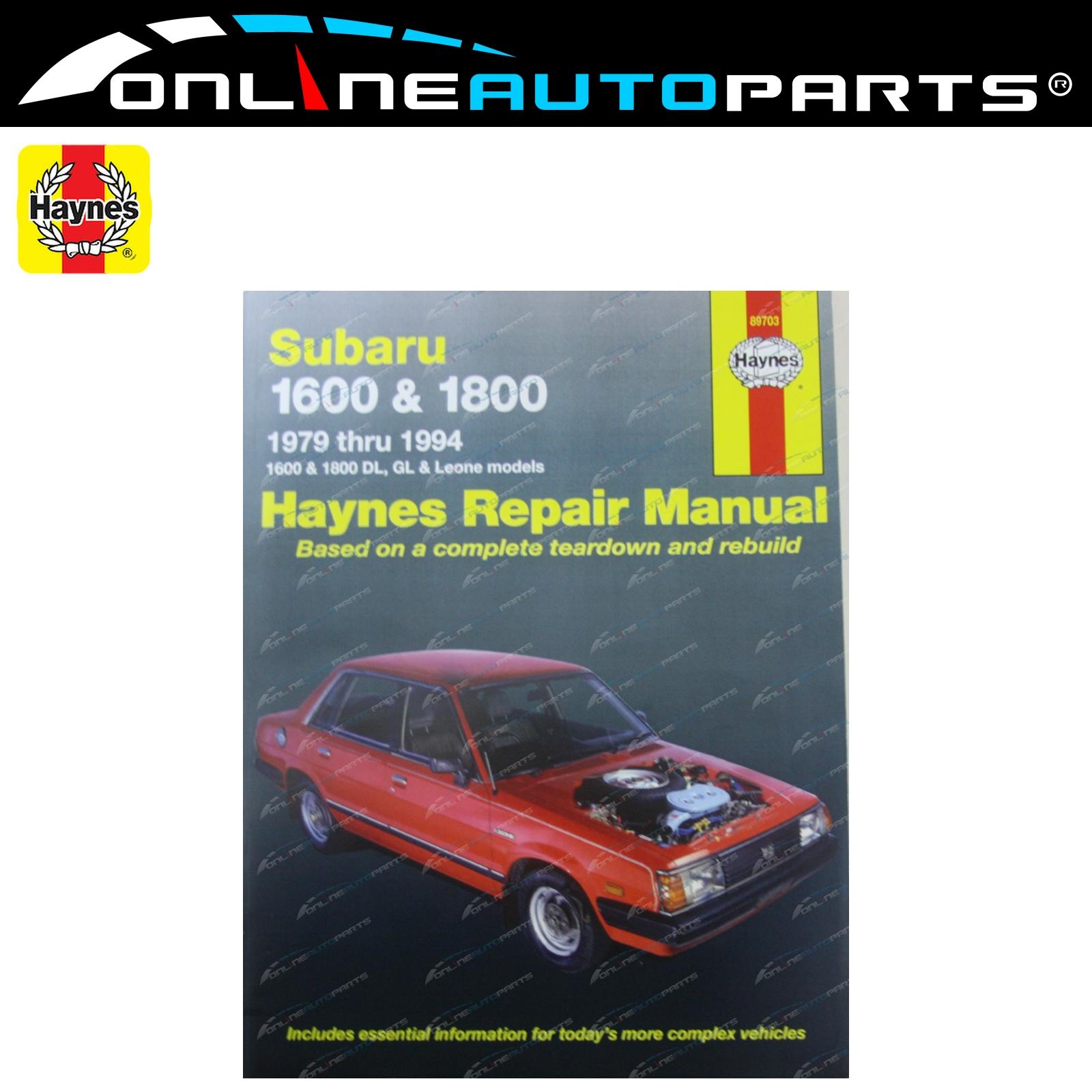 haynes car repair manual book for subaru 79 94 1600 1800 dl gl rh ebay com  au Manual Subaru Sedan Manual Subaru Sedan