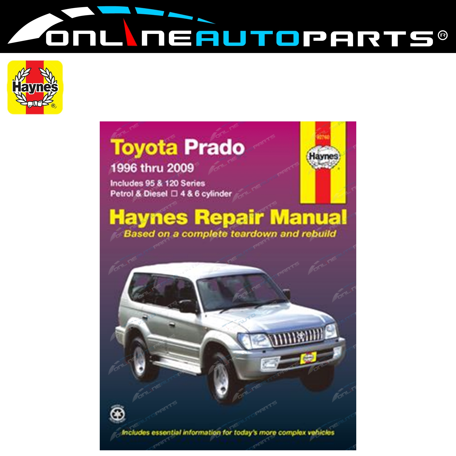 Haynes Car Repair Manual Book suits Prado 96~09 90 95 120 Series Petrol +