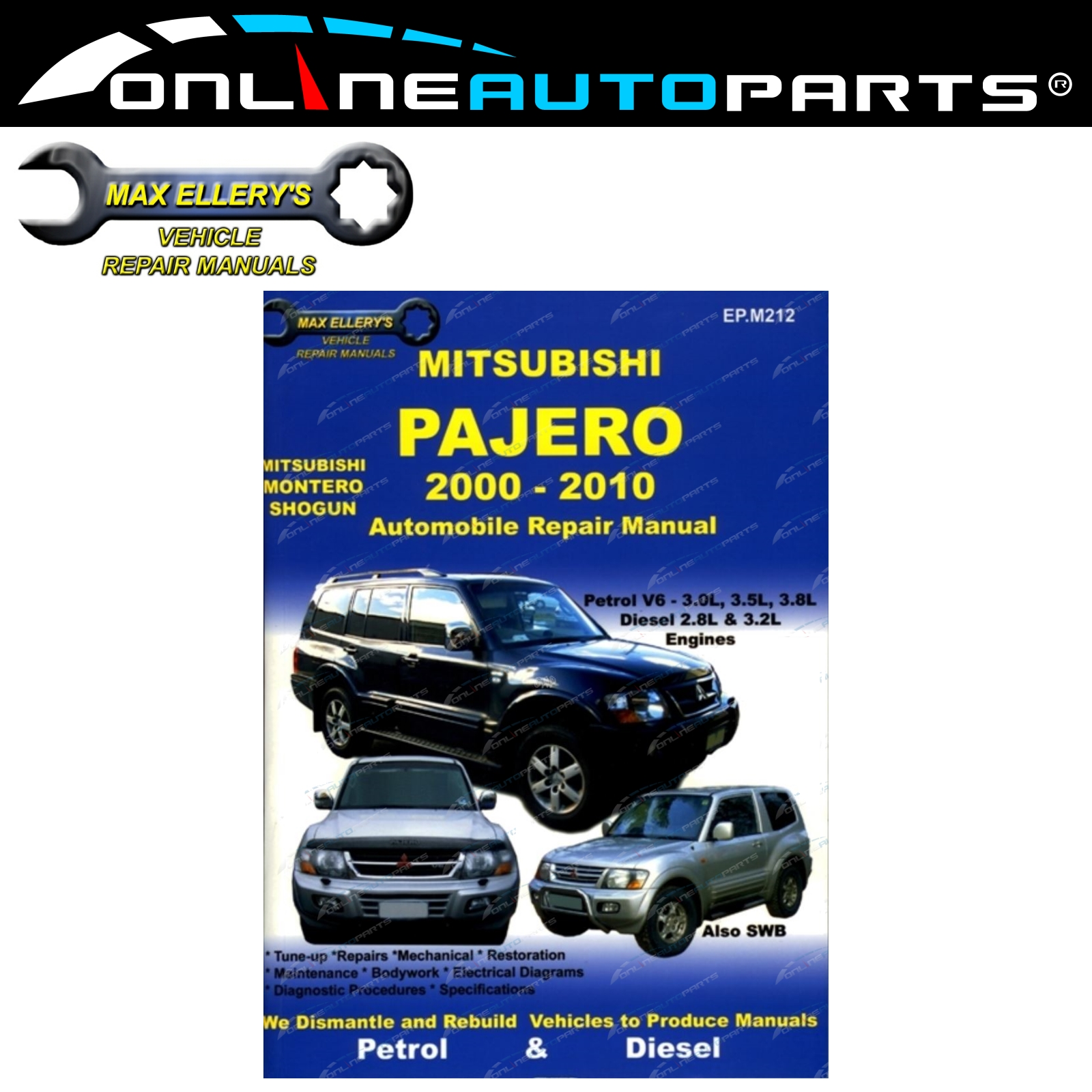 Car Repair Book Mitsubishi Pajero NM NP NS NT 2000-10 Max Ellery Workshop  Manual