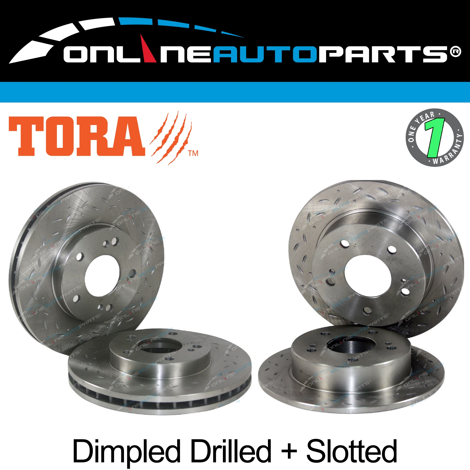 2 Front Dimple Slotted Disc Brake Rotors suit 200SX S14 S15 300ZX Z32 VG30DDT