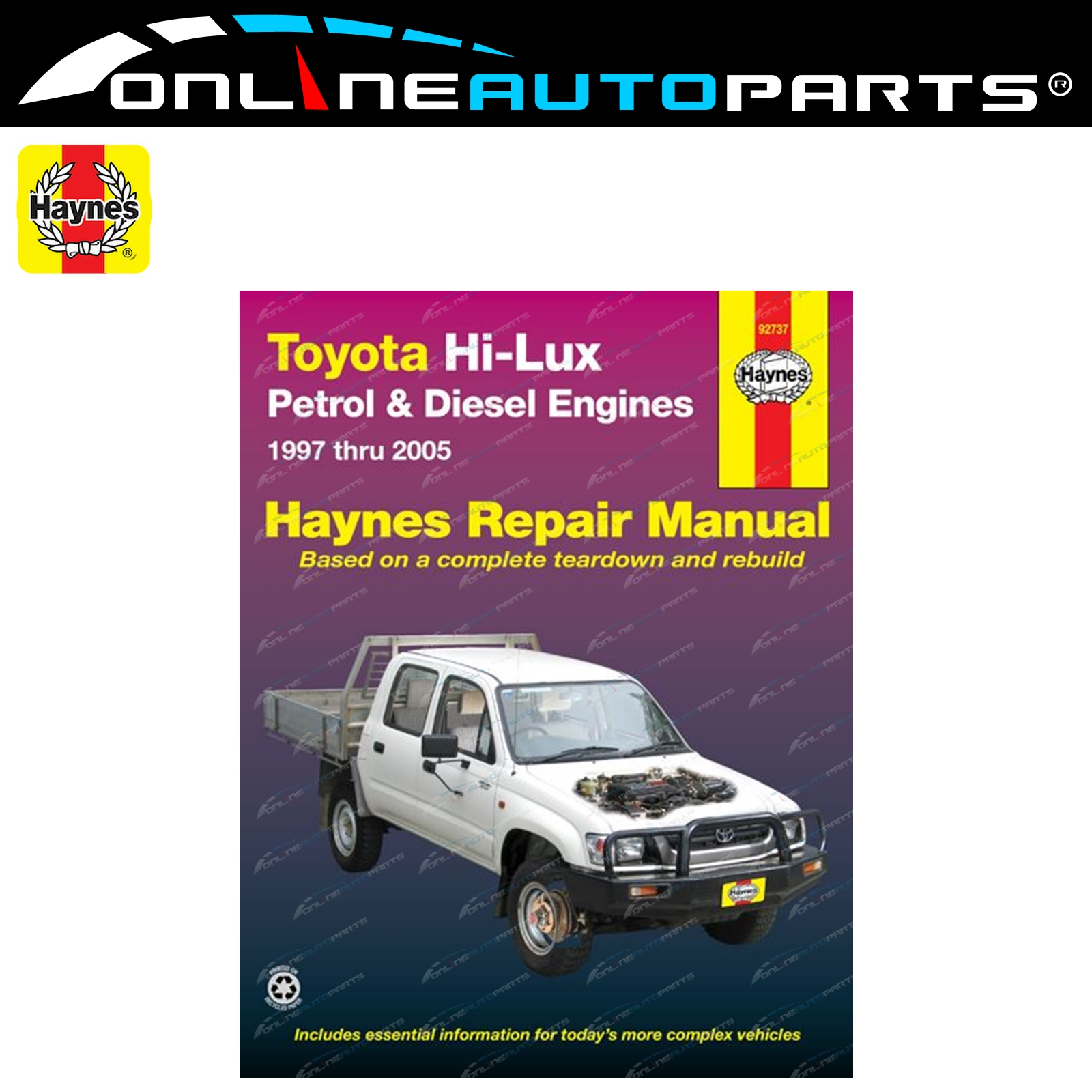 Haynes Car Repair Manual Book suits Toyota Hilux 1997-2005 + Diesel 2wd 4wd