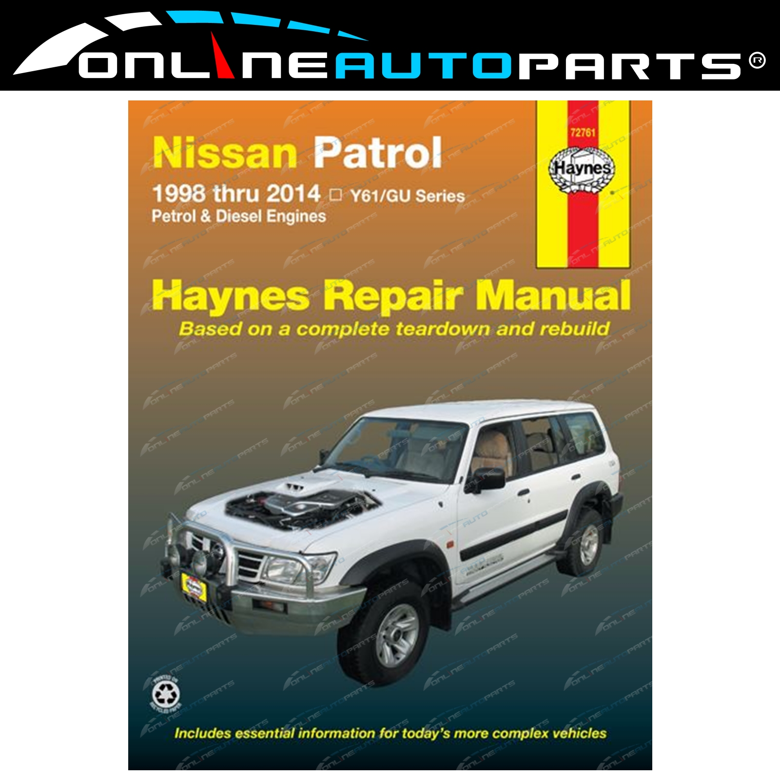 Haynes Car Repair Manual Book for Nissan Patrol GU Y61 1997-2014 Petrol +  Diesel