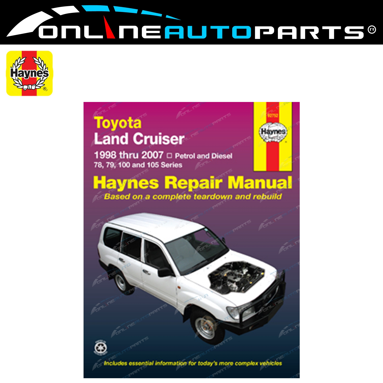 Haynes Car Repair Manual Book suits Landcruiser FZJ105 HDJ100 HZJ105 100  Series