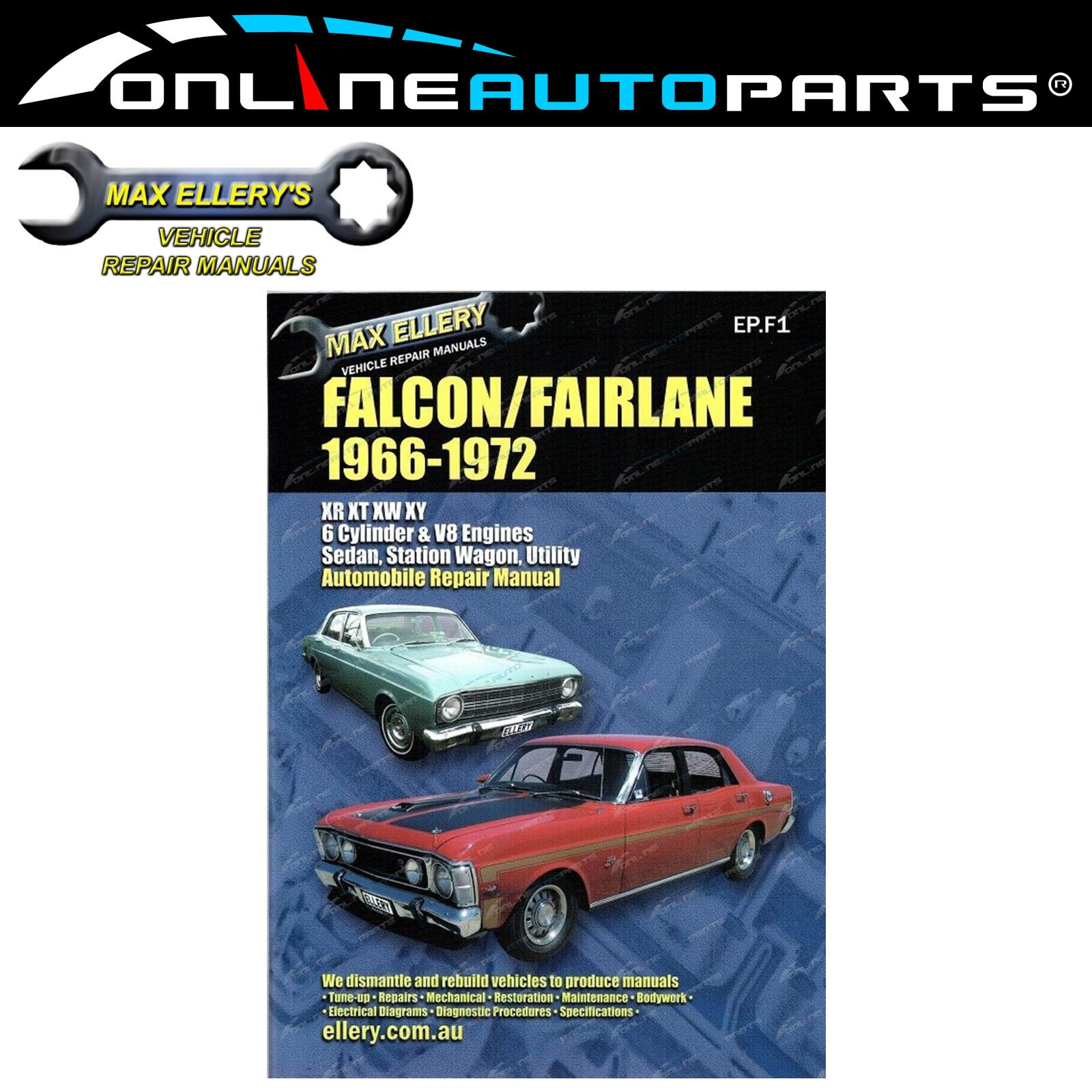 Workshop Repair Manual Ford Falcon Fairlane XR XT XW XY 66-72 Book GT HO