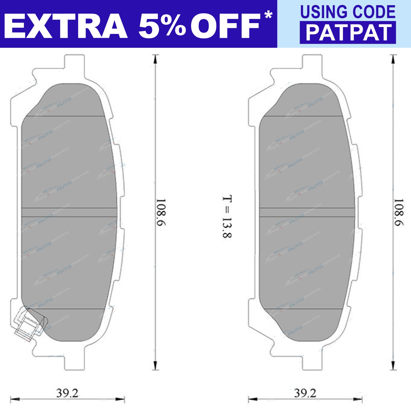 Tora-Rear-Disc-Brake-Pad-Set-suits-Subaru-Forester-SG-SH-2-5L-2003-2008 thumbnail 2