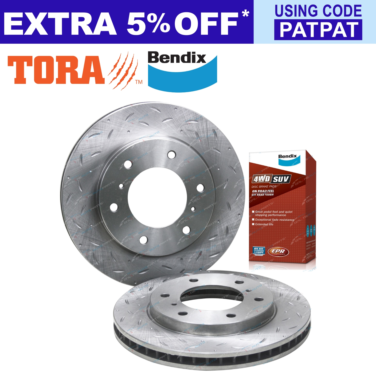 Front-Slotted-amp-Dimpled-Disc-Brake-Rotors-Bendix-4WD-Pads-suit-Triton-ML-MN-MQ