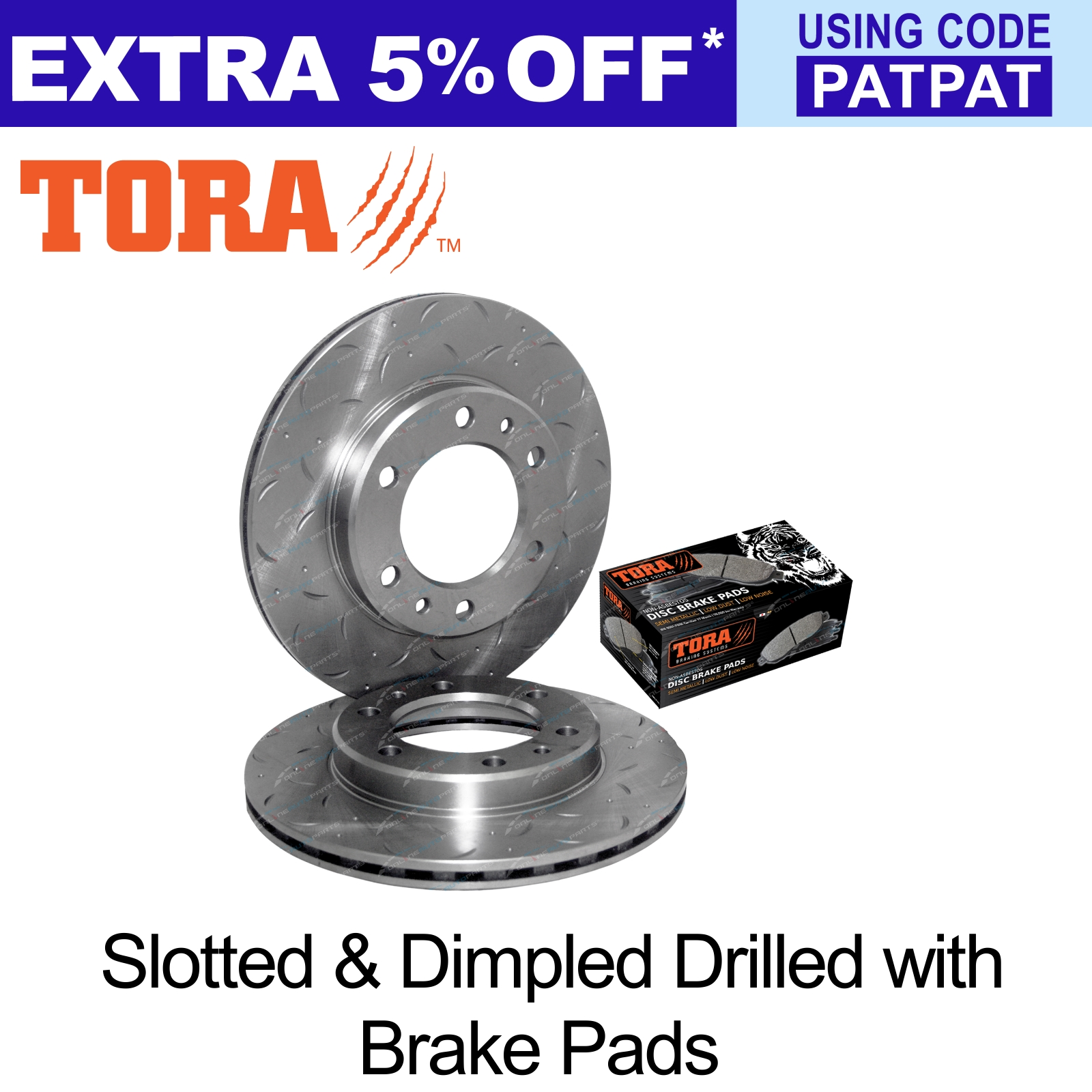2-Drilled-Slotted-Front-Disc-Brake-Rotors-Pads-Set-Hilux-89-99-4x4-LN106-RN105