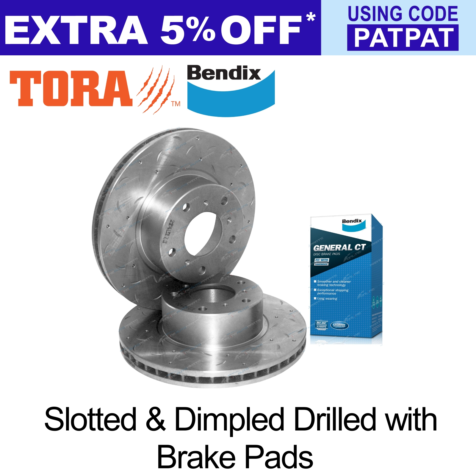 2-Front-Slotted-Dimpled-Disc-Rotors-Bendix-Brake-Pads-Commodore-VT-VX-VU-VY-VZ